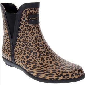 NWT London Fog Piccadilly Leopard Rain Bootie